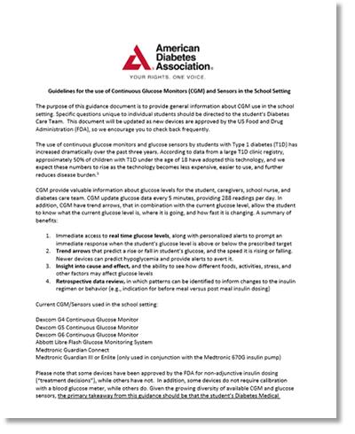 CGM Guidelines at School – American Diabetes Association 2019